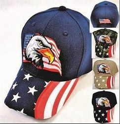 merican Flag Hats Bulk Wholesale Clothing Suppliers In USA - Eagle with Flag Hat [Printed Flag Bill] Baseball Hats - HT401.