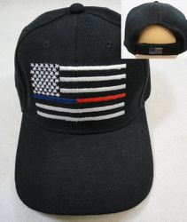 USA Suppliers Wholesale Patriotic American Flag Bald Eagle Baseball Hats - HT790. Thin Blue Red Line Hat