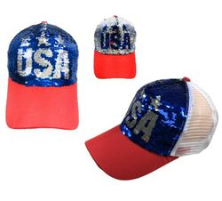 USA Suppliers Wholesale Patriotic American Flag Bald Eagle Baseball Hats - HT813. Reversible Sequin Mesh Baseball Cap [USA]