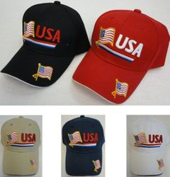 Wholesale USA American Flag Baseball Caps and Patriotic Hats Bulk Sale Suppliers - HT126. USA Flag Hat RED WHITE BLUE Stripe Flag on Bill