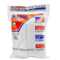 Wholesale Socks - American Made Athletic White Cotton Athletic Crew Socks 6 Pair Pack