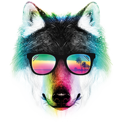 Wholesale T-Shirts Suppliers Graphic Funny Wolf Sunglassses - 19946HL2