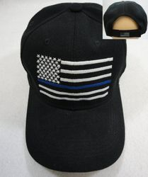 Wholesale USA American Flag Baseball Caps and Patriotic Hats Bulk Sale Suppliers - HT789. Thin Blue Line Hat