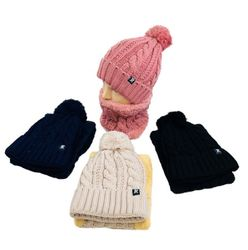 Wholesale Winter, Winter Wholesalers, Winter Suppliers, Winter Bulk - WN5654. Plush-Lined PomPom Knit Hat Neck Warmer Combo [Cable Knit]