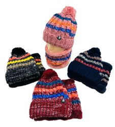 Wholesale Women's Clothing Suppliers - Hats Winter Women's Fashion Suppliers - WN5661. Plush-Lined PomPom Knit Hat Neck Warmer Combo [Stripes]