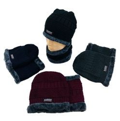 Wholesale Boutique Hats Winter Women's Fashion Suppliers - WN5685. Plush-Lined Beanie Neck Warmer Combo [MultiStitch]