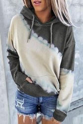 Wholesale Women's Clothing Suppliers - Gray Hooded Tie Dye Print Pocket Casual Sweatshirt