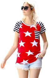 Wholesale Women's Clothing Suppliers - Striped Short Sleeves Red Black American Flag T-shirt