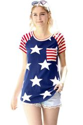 Wholesale Women's Clothing Suppliers - Striped Short Sleeves Red Navy American Flag T-shirt