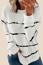 Wholesale Women's Clothing Suppliers - Tie-dye Stripes White Sweatshirt