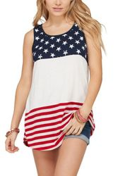 Wholesale Women's Clothing Suppliers - White Sleeveless Colorblock American Flag Print Tunic Top