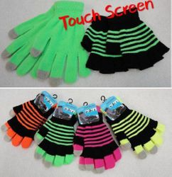 Party Toys Wholesale Gloves Merchandise Suppliers - WN908. Double-Layer Neon Touch Screen Gloves [Stripes]