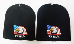Best Selling USA Patriotic Wholesale Military Hats Bulk Suppliers - WIN677 Eagle Flag Beanie