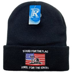 Winter Hats Beanies Wholesale For Sale , Bulk Hats Beanies - WN3612. Embroidered Knitted Cuff Hat[Stand For Flag-Kneel for Cross]