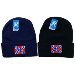 Wholesale Winter Hats Beanies For Sale, Bulk Hats Beanies - WN3636. Embroidered Knitted Cuff Hat [Rebel Flag]