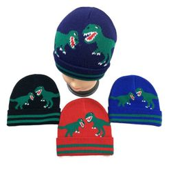 Party Toys Wholesale Merchandise Suppliers - WN3537. Childs Knitted Cuffed Winter Hat [Dinosaurs]