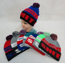 Wholesale Winter Gloves Clothes - Winter Gloves Hats Caps - WN512. Knit Hat with PomPom [WHO GIVES A SHIT]