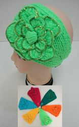 MSC Distributors : Wholesale Boutique Clothing Suppliers USA Party Hats - WN526. Wider Hand Knitted Ear Band--Flower with Sequins