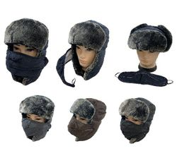 Blank Wholesale Hats Winter Merchandise Suppliers - WN6163. Aviator Hat with Fur Trim and Detachable Mask [3-in-1]