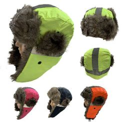 Blank Wholesale Hats Winter Merchandise Suppliers - WN6170. Aviator Hat with Fur Trim [Neon with Reflective Strip]