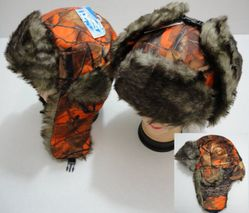 Wholesale Wholesalers Products Suppliers Bulk - WN647. Aviator Hat with Fur Trim--Orange Camo