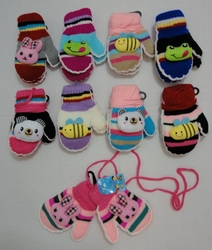 Gloves Winter Supplier Wholesale Bulk - WN662. Small Mittens with Puffy Character [Connected]