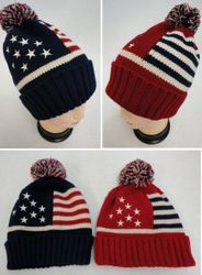 Wool USA Patriotic Wholesale Beanies Military Apparel Shirts Hats Bulk Suppliers - MSC Distributors - WN689 Toboggan Hat with Pompom [Americana]