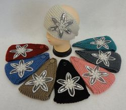 Party Toys Wholesale Merchandise Suppliers - WN761. Wide Hand Knitted Ear Band [Star Flower Applique w Gems]