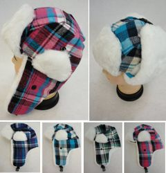 MSC Distributors : Winter Hats Wholesale - WN779. Childs Aviator Hat with Plush Trim [Plaid]