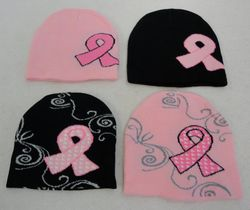 Women's Cool Hats Caps Cheap - WN787. Knitted Beanie Pink Ribbon