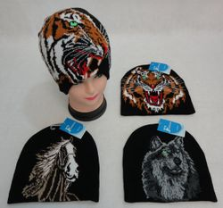 Wholesale Hunting Clothes - Hunting Wholesalers - WN845. .Knitted Beanie Tiger Horse Wolf