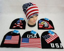 USA Suppliers Wholesale US Patriotic Winter Embroidered Beanie Hats - WN846. .Knitted Beanie [USA Flag Assortment]