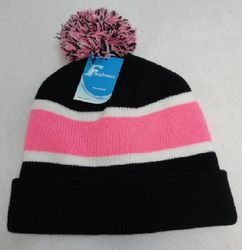 Best Selling MSC Distributors : Cheap Bulk Winter Gloves and Hats - WN909-4. Double-Layer Knitted Hat with PomPom [Black White Pink]