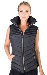 Women's Fashion Wholesale - 4184N-2DS06VX- Black-Ladies Plus Size High Collar Quilted Vest with Fa