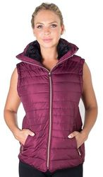 Women's Fashion Wholesale - 4184N-2DS09VX-Burgundy-Ladies Plus Size High Collar Quilted Vest with