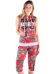 Women's Fashion Wholesale - 4500-FT1818-AOP-Women's French Terry All-over Floral Printed Sleeveles