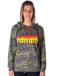 Tops For Women, Cheap Sexy Ladies Fashion Tops Wholesale Online With Drop Shiping - 4112N-SCFT225-Camo-Ladies Mesh Hoody Sweatshirt Distress Tops with App