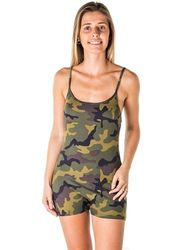 Women's Wholesale Clothing Boutique Supplier - 4112N-SPL844-Camo-Ladies Camo Print Knit Romper Shorts with Adjustable
