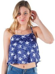 Womens Tops Cheap Wholesale Online Drop Shipping - 4195N-MB-2248 Print-Ladies Printed Cropped Tank Top  1-2-2-1