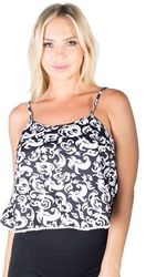 Womens Tops Cheap Wholesale Online Drop Shipping - 4195N-MB2209-Print Black-Ladies Printed Cropped Tank Top  1-2-2-1