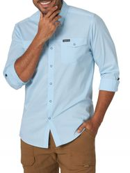 Wholesale Clothing - Wrangler Men's Long Sleeve Solid Outdoor Utility Shirt Blue