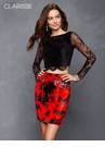 Black and Red Sexy Floral Two Piece Homecoming Dress s4808
