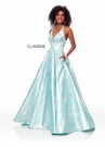 Clarisse Dress 3767 Mint Brocade Halter Ball Gown | Prom 2019