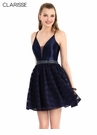 Clarisee Homecoming 2019 Navy Satin Strappy Back Dress 3967
