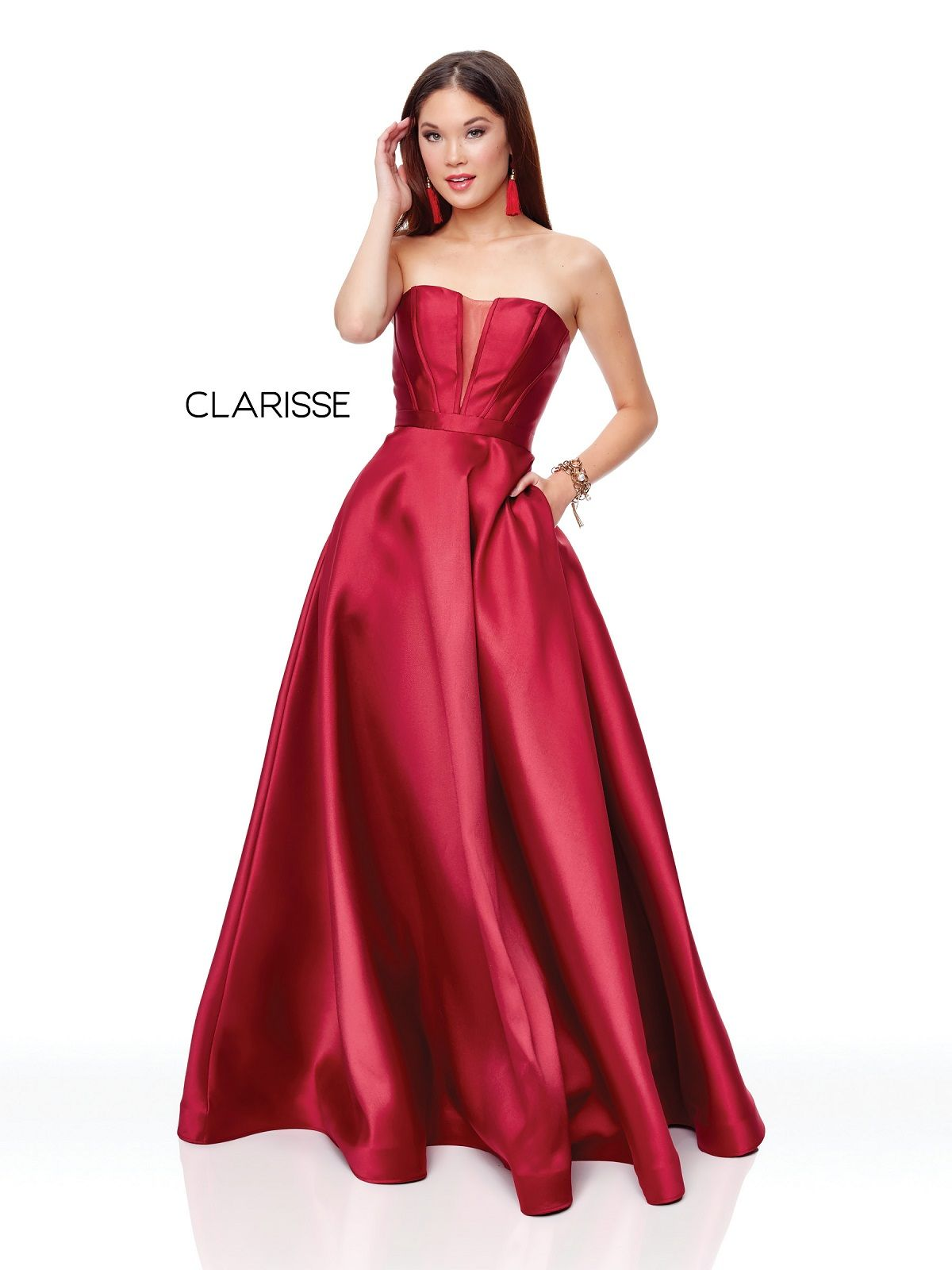 Clarisse 3743 Strapless Wine Corset Ball Gown Promgirl Net