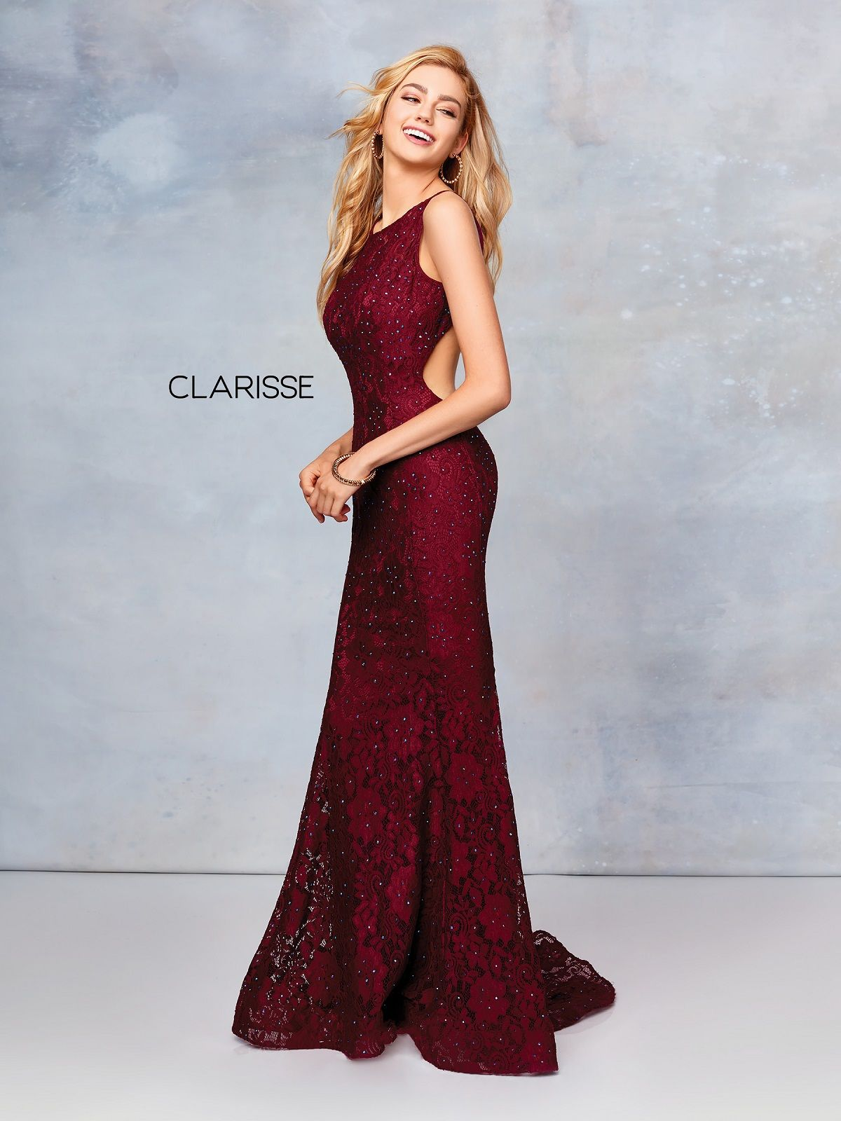 Clarisse Dress 3748 Stretch Lace Open Back Gown 6 Colors