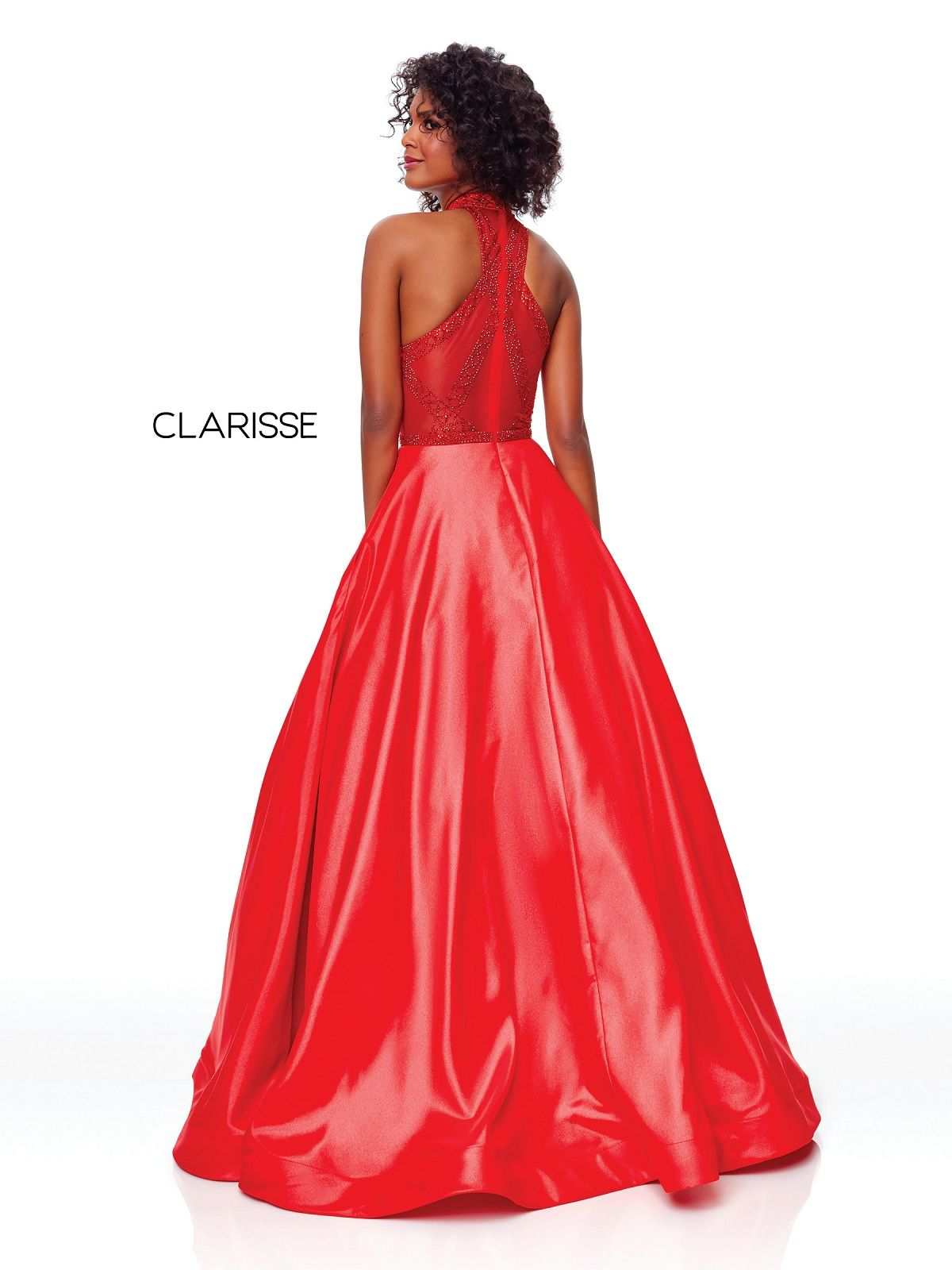 830570380a0 Clarisse Dress 3753 Shimmery Halter Gown With Pockets