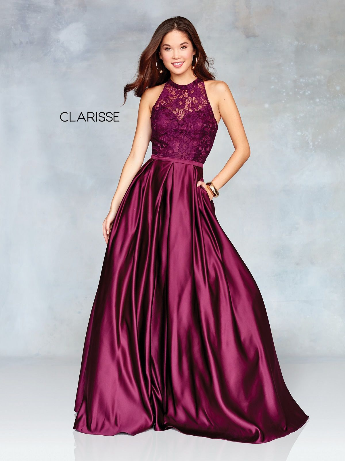 Clarisse Drsss 3763 Satin Lace Ball Gown