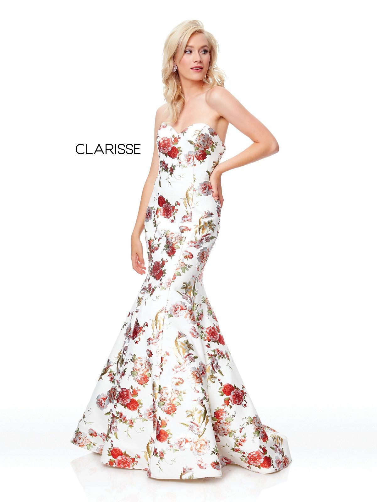 85bcaf564e23 Clarisse Dress 3801 Strapless Floral Mermaid | Prom 2019