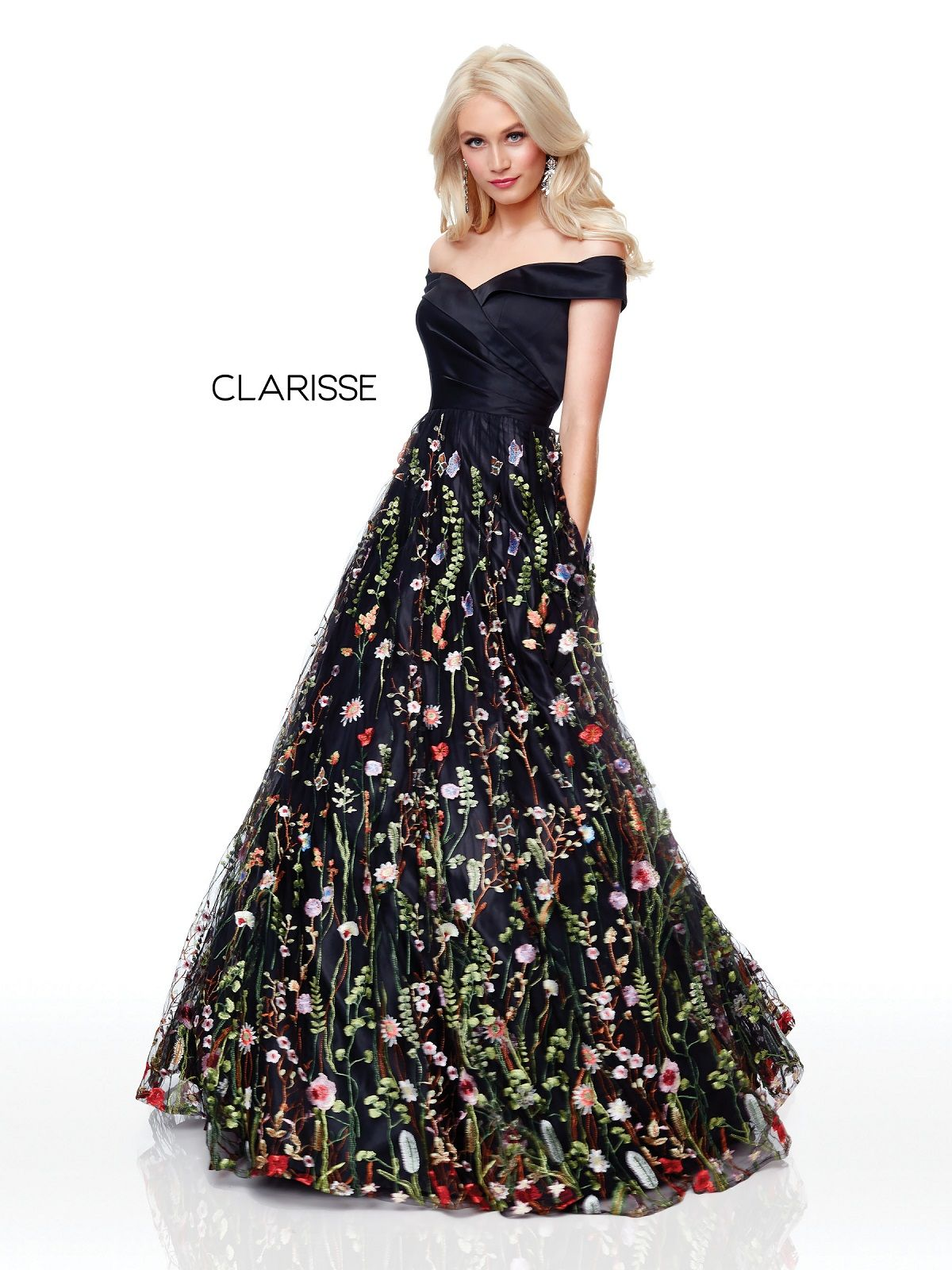 a630814ba55 Clarisse Dress 3803 Floral Off The Shoulder Ball Gown